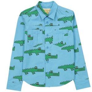 Hugo Tiki Alligator Button Down Shirt 10 T EUC